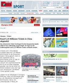 Olympia: Über 5 Millionen Tickets in China ausverkauft